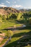 Arredores em Quirguizistão, montanhas do lago Issyk Kul de Tian Shan Fotografia de Stock Royalty Free
