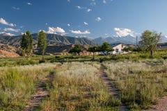 Arredores em Quirguizistão, montanhas do lago Issyk Kul de Tian Shan Imagens de Stock
