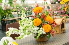 Arregle un ramo de flor fresca hermosa en un florero imagenes de archivo