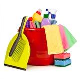 Arreglo agradable de los artículos para limpiar Imagen de archivo libre de regalías