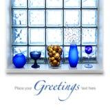 Arreglo azul de la Navidad Fotografía de archivo