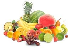 Arreglo colorido de la fruta aislado en blanco Foto de archivo