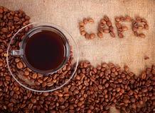 Arreglo con el café Fotos de archivo