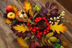 Arreglo de la acción de gracias con las bayas de serbal y las hojas del roble, top Fotografía de archivo