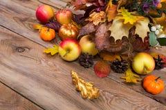 Arreglo de la acción de gracias con las hojas del arce y del roble Imagenes de archivo