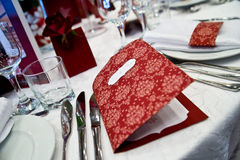 Arreglo de la cena del vector de la boda Fotos de archivo