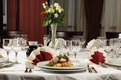 Arreglo de la cena del vector de la boda Fotos de archivo libres de regalías