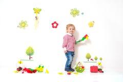 Arreglo de la primavera del niño pequeño fotografía de archivo