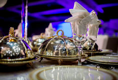Arreglo de la tabla de la boda Imagenes de archivo