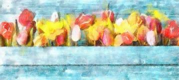 Arreglo de las flores frescas de la primavera con los tulipanes y Narcissus Symbolic Of The Season en un colorido Fotos de archivo libres de regalías