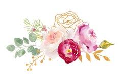 Arreglo de las hojas y de las flores pintadas a mano de la acuarela libre illustration