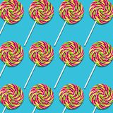 Arreglo de los caramelos de la piruleta en fondo de la turquesa libre illustration