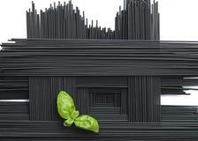 Arreglo de los espaguetis negros de la tinta del calamar Imagen de archivo