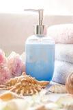Arreglo del baño con las rosas rosadas románticas Fotos de archivo libres de regalías