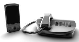 Arreglo del manojo del Telco y teléfono celular Imagen de archivo libre de regalías