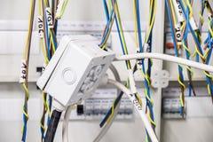 Arreglo eléctrico provisional en el panel Imagen de archivo libre de regalías