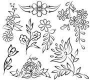 Arreglo floral blanco y negro abstracto bajo la forma de ángulo de la frontera. Imagenes de archivo