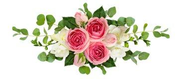 Arreglo horizontal con las rosas, las flores de la fresia y euca rosados ilustración del vector