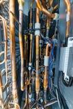 Arreglo interno del acondicionador de aire industrial Muchos tubos soldados de cobre foto de archivo libre de regalías