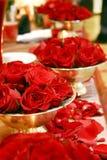 Arreglos color de rosa del rojo Imágenes de archivo libres de regalías