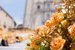 Arreglos florales para el festival de la flor en Girona fotografía de archivo libre de regalías
