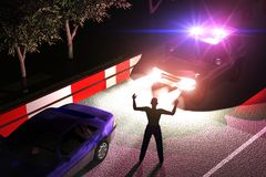 Arrest. Scene of the arrest of the criminal on road in the night Royalty Free Stock Photos