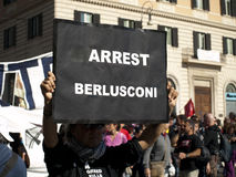 Arrest Berlusconi. An activist against the ex italan prime minister Silvio Berlusconi Stock Images