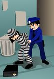 Arrest and Handcuff the Burglar Stock Images
