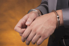 Arrest handcuffs Royalty Free Stock Image