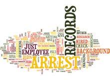 Arrest Records Word Cloud Concept. Arrest Records Text Background Word Cloud Concept royalty free illustration