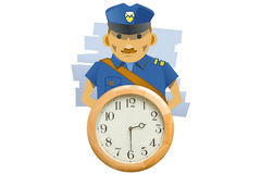 Policemand and Clock Arresting Time Royalty Free Stock Photography