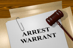 Arrest Warrant concept. 3D illustration of ARREST WARRANT title on legal document Stock Photo