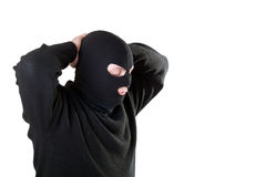 Arrestant in een zwart masker. Royalty-vrije Stock Afbeeldingen