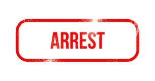 Arrestatie - rood grungerubber, zegel vector illustratie