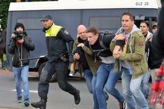 Arrestatie tijdens protest royalty-vrije stock afbeelding