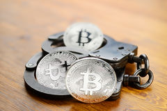 Arrestation argentée de Bitcoin photos stock