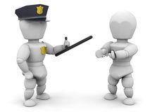 Arrested. 3D render of a policeman with a criminal Stock Photo