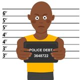 Arrested african american man posing for mugshot holding signboard Royalty Free Stock Images