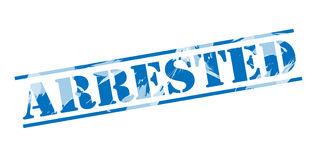 Arrested blue stamp. On white background Royalty Free Stock Photography