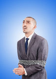 Arrested businessman in studio shooting. The arrested businessman in studio shooting Royalty Free Stock Images