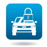 Arrested car icon, simple style. Arrested car icon in simple style in blue square. Transport and service symbol Stock Photos