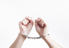 Arrested criminal hands in handcuffs Stock Photography