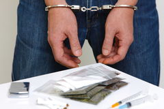 Arrested drug dealer. Concept shot of crime and justice Stock Photography