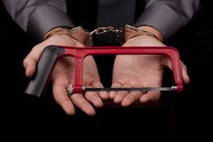 Arrested in handcuffs Royalty Free Stock Image