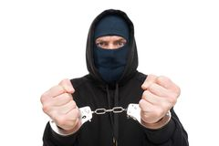 Arrested handlocked theft. Under arrest. Theft concept Royalty Free Stock Photo