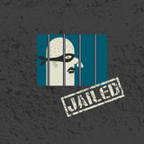 Arrested and jailed. Gangster behind bars. Minimalism style Stock Photo