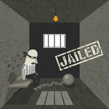 Arrested and jailed. Gangster behind bars. Thematic illustration Royalty Free Stock Photography