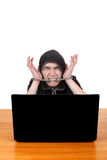 Arrested Man with Laptop Royalty Free Stock Photo