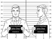 Arrested man photo in police coloring book vector. Arrested man photo in police station coloring retro vector illustration. Comic book style imitation Royalty Free Stock Photography