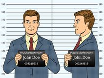 Arrested man photo in police pop art vector. Arrested man photo in police station pop art retro vector illustration. Comic book style imitation Stock Photo